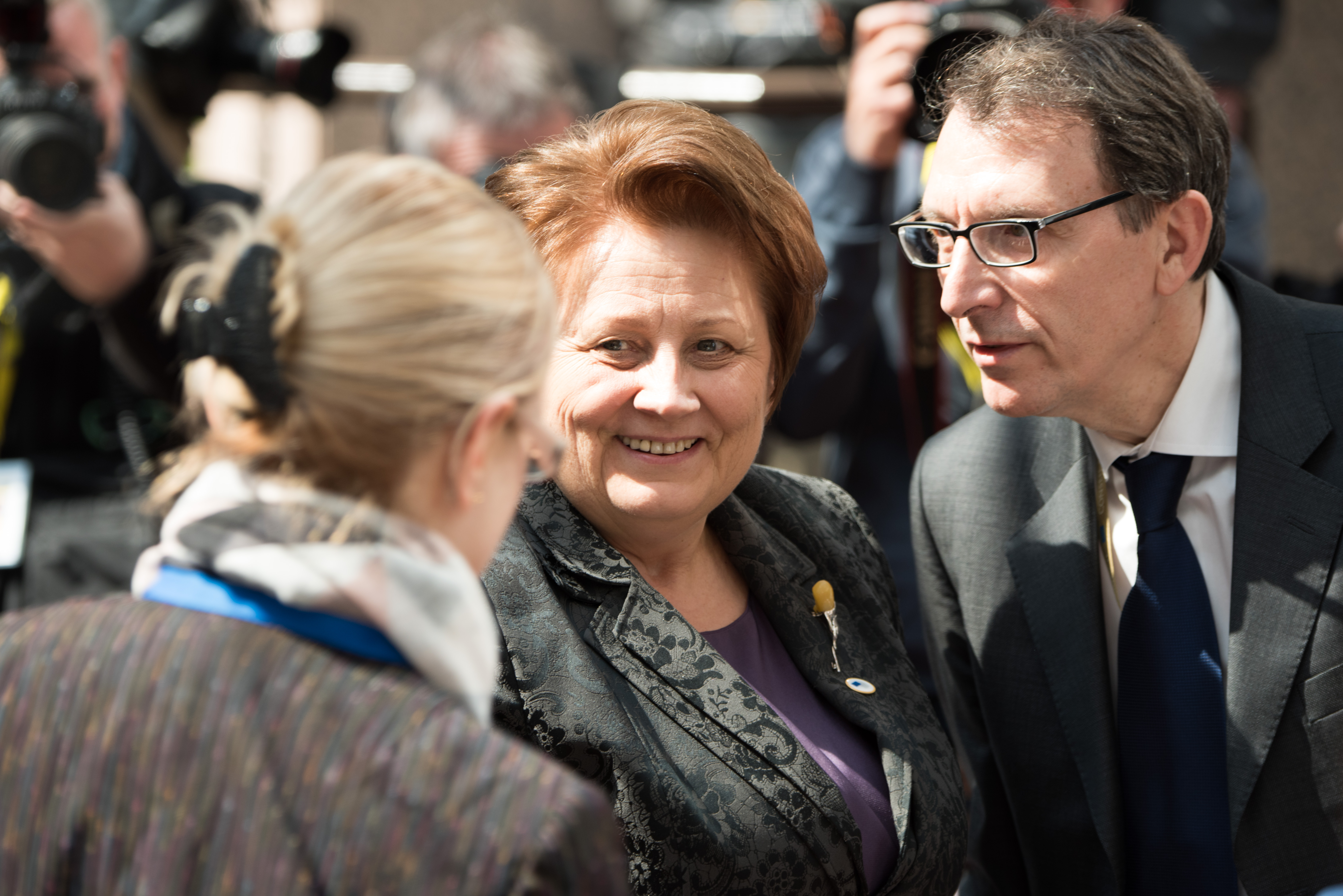 Laimdota Straujuma, Latvian Prime Minister and President in office of the Council of the EU, in the centre