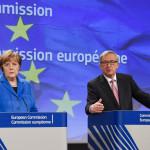 Angela Merkel, on the left, and Jean-Claude Juncker