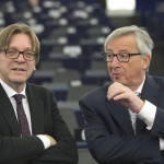 Guy Verhofstadt, Member of the EP, on the left, and Jean-Claude Juncker