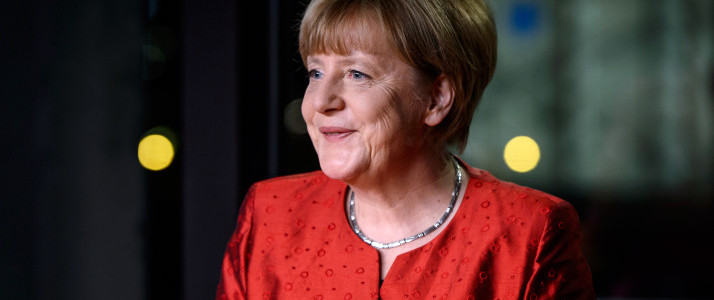 BERLIN, GERMANY - DECEMBER 30:  (EDITORS NOTE: IMAGES STRICTLY EMBARGOED FROM ALL USAGE UNTIL 23:00 GMT DECEMBER 30, 2015) German Chancellor Angela Merkel records her televised new year's address at the Chancellery on December 30, 2015 in Berlin, Germany. Integration of the over one million migrants and refugees who came to Germany in 2015 will be among Germany's biggest challenges in 2016. Other major issues will include the fight against Islamist terror both at home and through Germany's participation in the coalition-led war against the Islamic State.  (Photo by Ukas Michael - Pool/Getty Images)